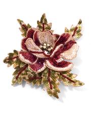 Pink Beaded Flower Brooch