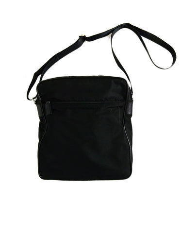 Prada Black Nylon Zip Top Unisex Messenger Bag