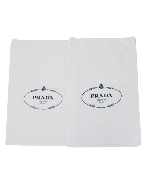 Prada White Canvas Set of 2 Travel Shoe Dust Bags