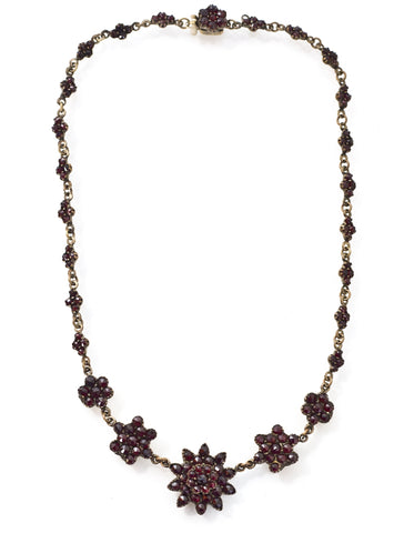 Vintage Bohemian Garnet Flower Necklace