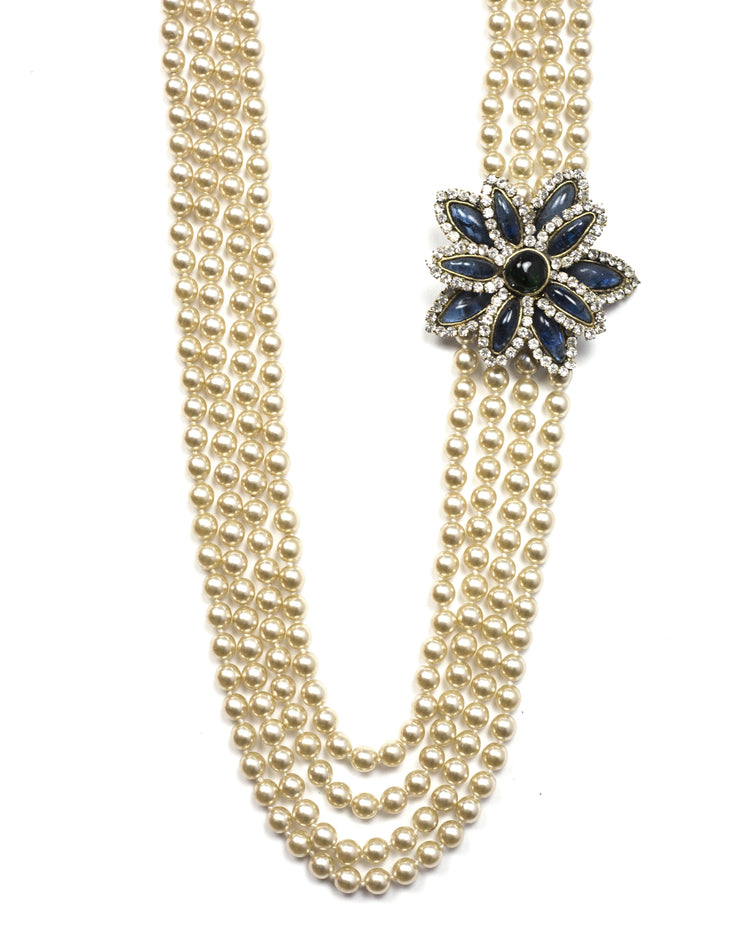 Chanel Vintage '83 Four Strand Pearl Necklace