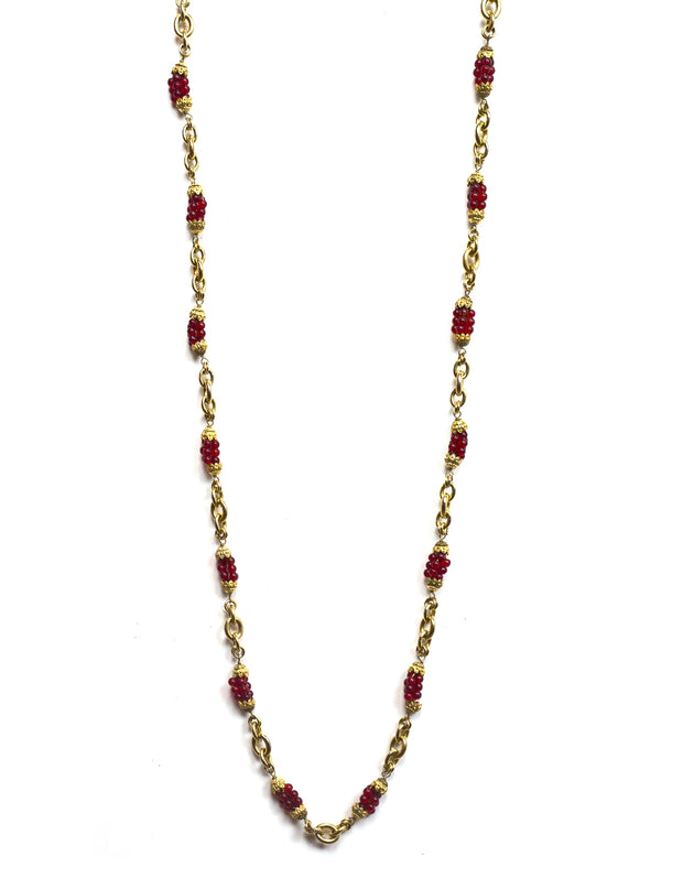 Chanel Vintage Red Bead & Gold Chain Link Necklace