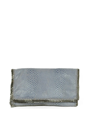 Stella McCartney Dusty Blue Snake Print Falabella Clutch Bag