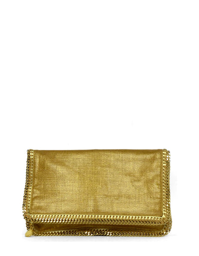Stella McCartney Gold Linen Falabella Clutch Bag