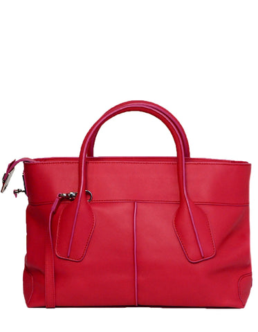 Tod's Pink Leather D-Styling 2 Manici Media Tote Bag
