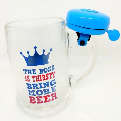 Beer mugs online india with ring bell best gift for boss