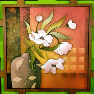 Flower Pot Canvas Wooden Frame online gifts in India