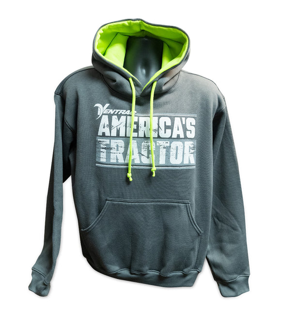 America's Tractor Hooded Sweatshirt - Dark Gray & Green