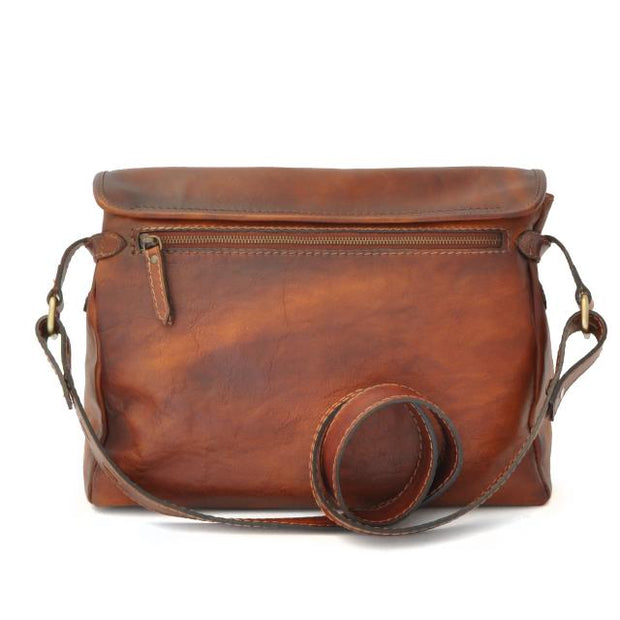 Back of Pratesi brown Maremma leather shoulder bag.
