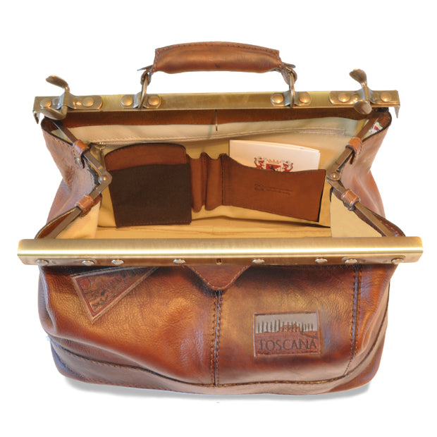 Inside of Pratesi San Casciano brown leather handbag.