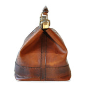 Side of Pratesi San Casciano brown leather handbag.