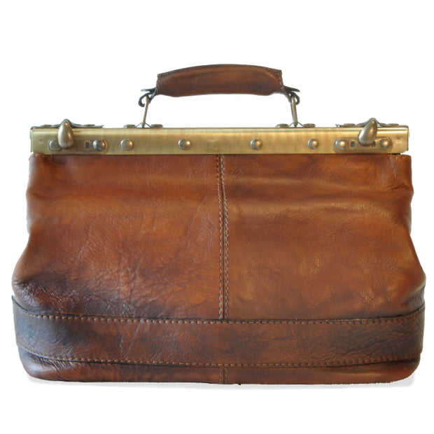 Back of Pratesi San Casciano brown leather handbag.