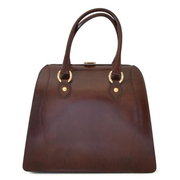 Pratesi Saturnia brown leather shoulder bag.