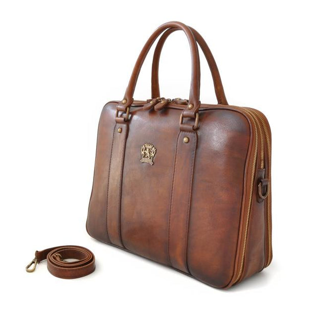 Side of Pratesi brown Magliano bruce leather briefcase.