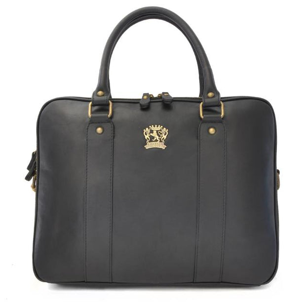 Pratesi black Magliano bruce leather briefcase.