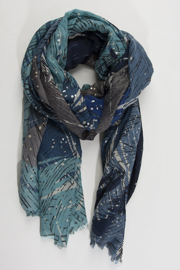 Blue Ombre & Silver Fleck Scarf