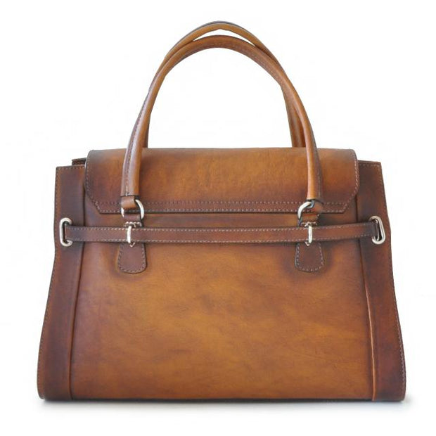 Back of Pratesi brown Baratti leather handbag.