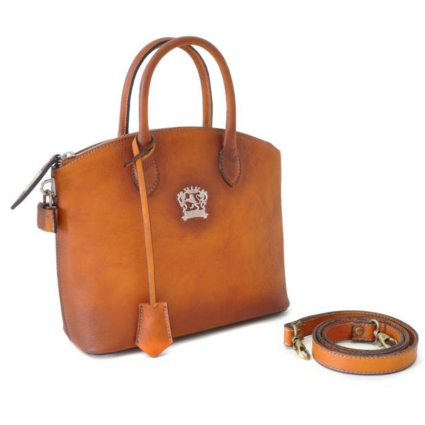 Pratesi Versilia brown leather hand bag.