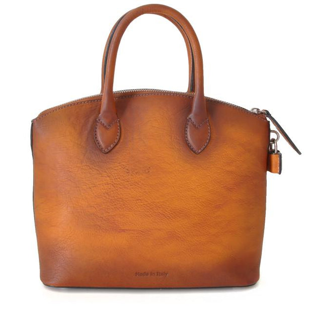 Back of Pratesi Versilia brown leather hand bag.