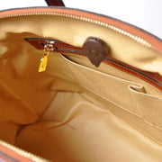 Inside of Pratesi Versilia brown leather hand bag.