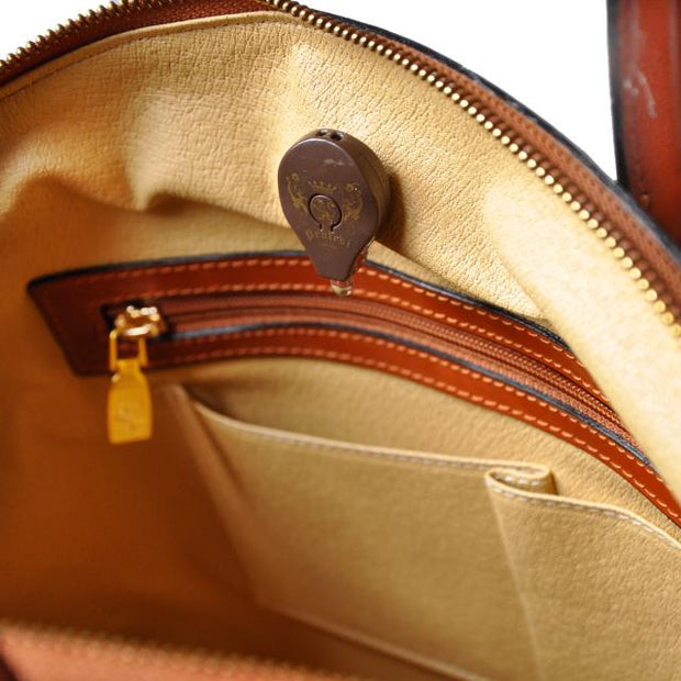 Inside of Pratesi Versilia leather hand bag.