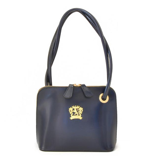 Pratesi Roccastrada navy blue calf leather shoulder bag.