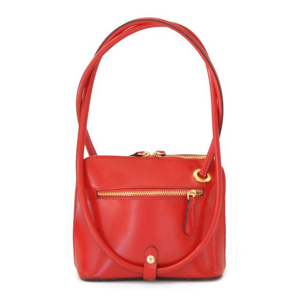 Back of Pratesi Roccastrada red calf leather shoulder bag.