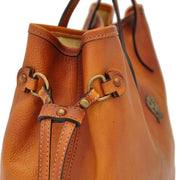 Side of Pratesi Vetulonia brown leather handbag.