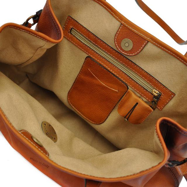 Inside of Pratesi Vetulonia brown leather handbag.