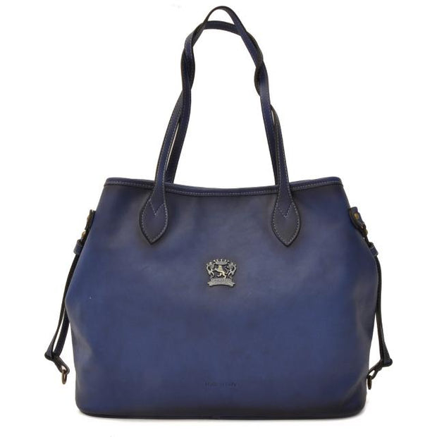 Pratesi Vetulonia blue leather handbag.