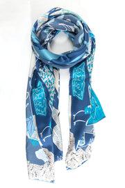 Blue Illustrated Nature  - 100% Silk Scarf
