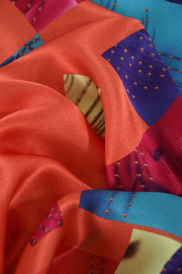 Orange Colour Block - 100% Silk