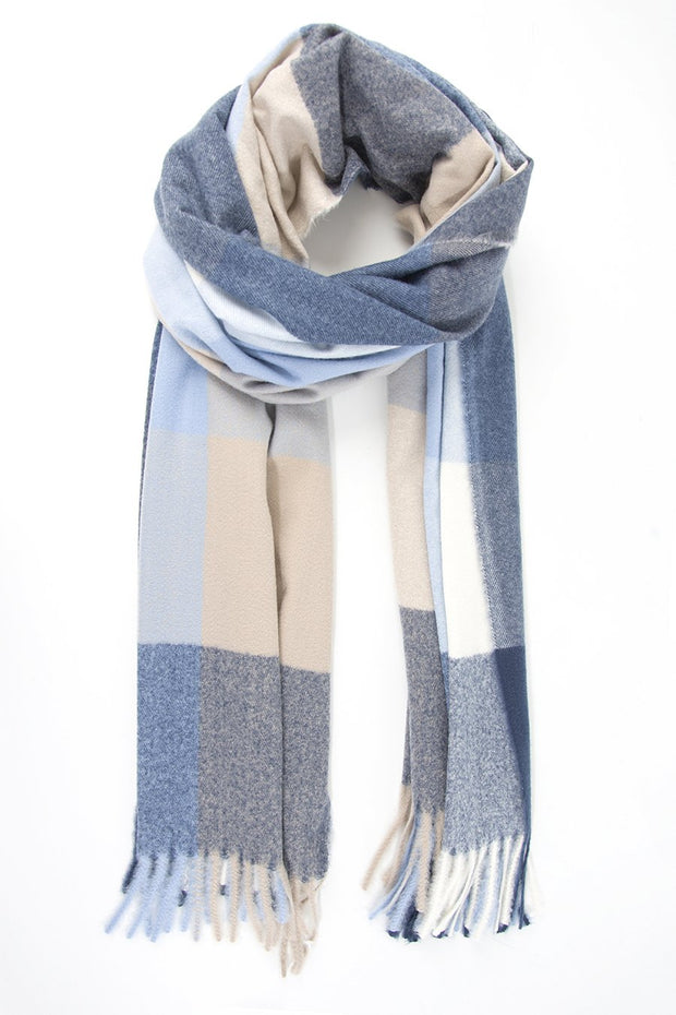 Multi-tone Blue and Cream Blanket Scarf