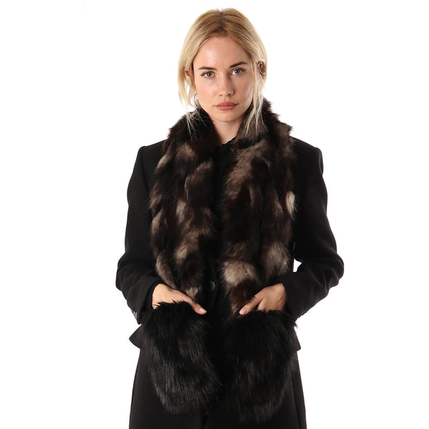 Belmore Boutique long faux jackal fur pocket stole.