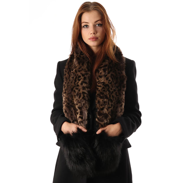 Belmore Boutique leopard faux fur pocket stole.