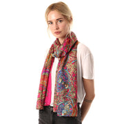 Belmore Boutique pink Celtic print silk scarf on model.