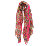 Belmore Boutique pink Celtic print silk scarf.