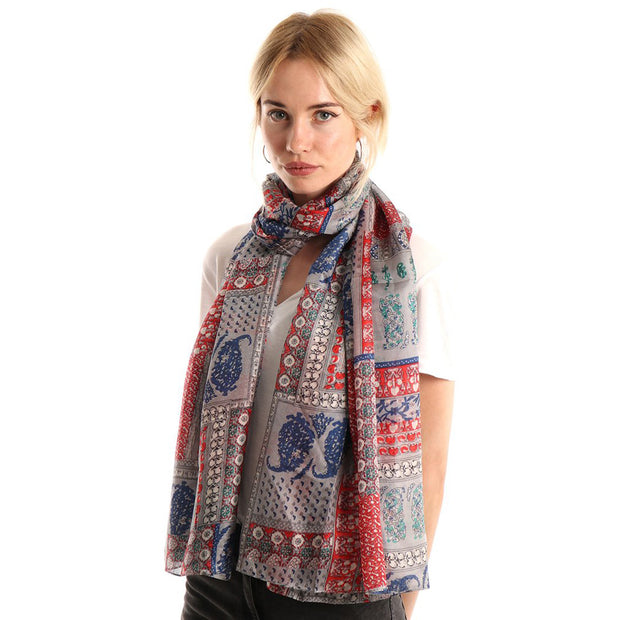 Belmore Boutique grey and red paisley print silk scarf.