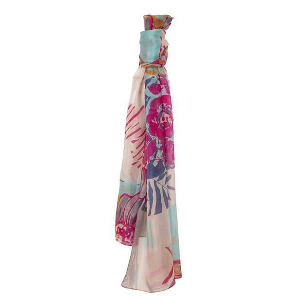 Belmore Boutique pink and purple floral print silk scarf.