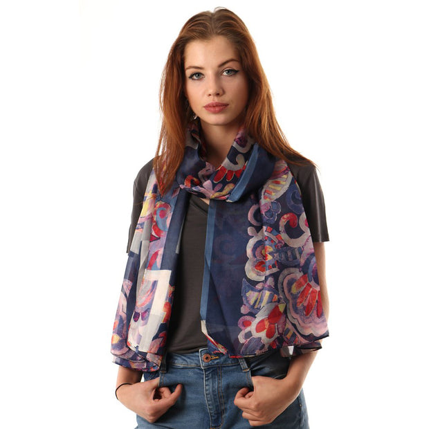 Belmore Boutique blue and red floral print silk scarf.