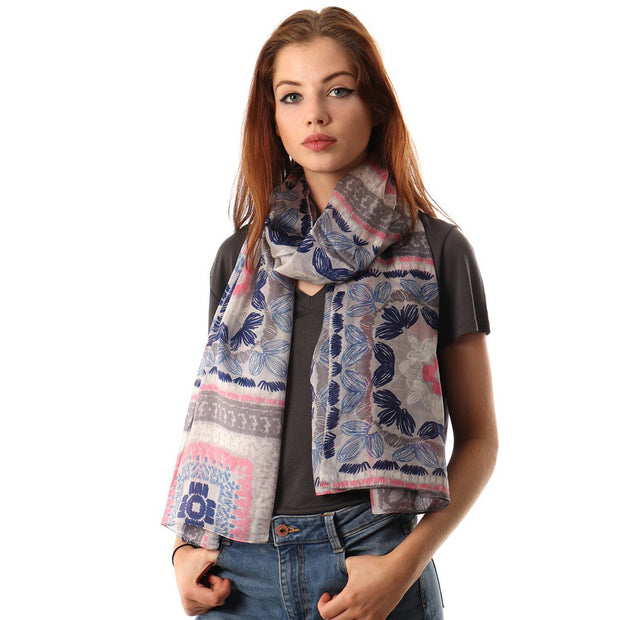 Belmore Boutique grey and pink abstract floral print silk scarf.
