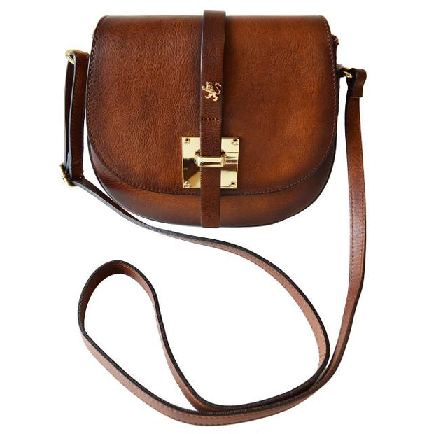 Pratesi Pelago brown calf leather shoulder bag with shoulder strap.