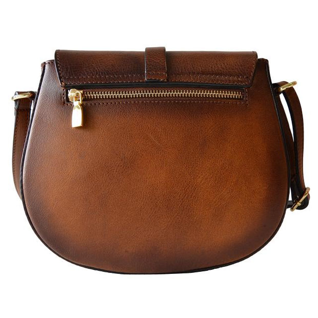 Back of Pratesi Pelago brown calf leather shoulder bag.