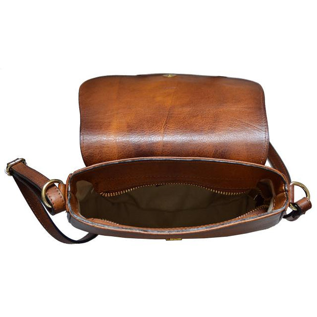 Inside of Pratesi Pelago brown calf leather shoulder bag.