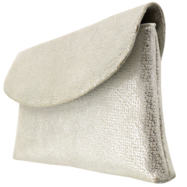 Giordano Stazi silver suede leather clutch.