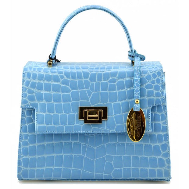 Giordano light blue Cinzia leather handbag.