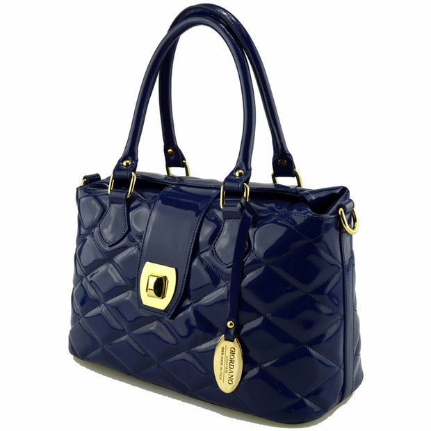 Giordano blue Giovanna patent leather handbag.