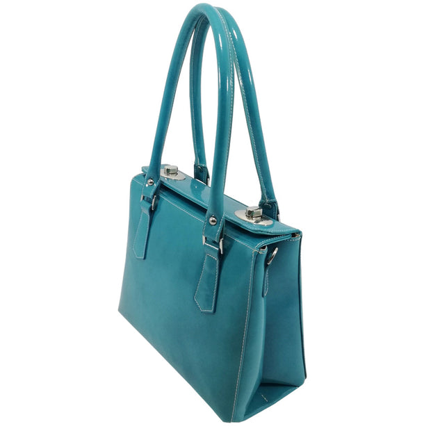 Side of Giordano Tiffany teal leather handbag.