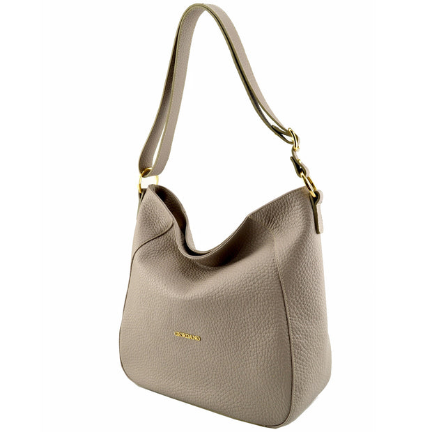 Giordano taupe Giordia leather shoulder bag.
