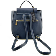 Back of Giordano blue Athena leather backpack.